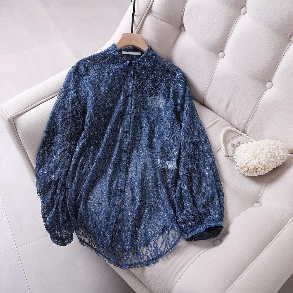 Romantic lady 2019 openwork lace shirt long long sleeve kimono blusas mujer de moda plus size shirt women - 5