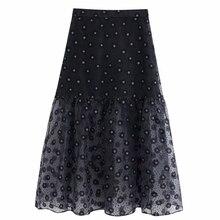 Women vintage flower printing transparent organza skirt faldas mujer ladies back