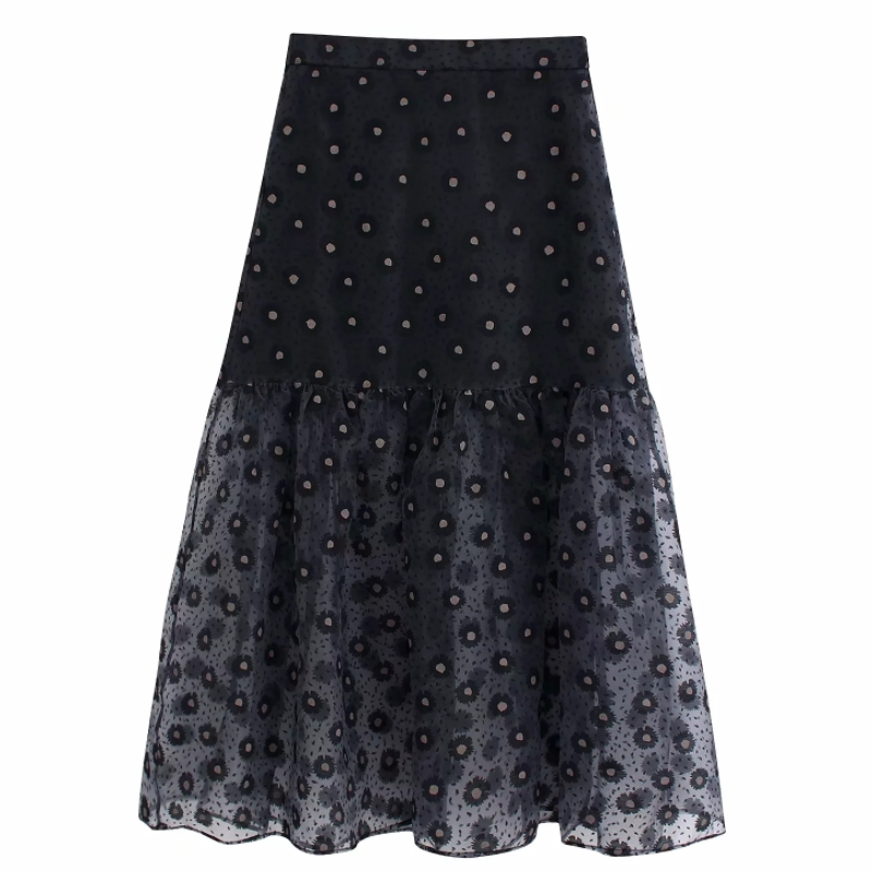 Women Vintage Flower Printing Transparent Organza Skirt Faldas Mujer Ladies Back Elasti Waist Vestidos Casual Slim Skirts QUN541