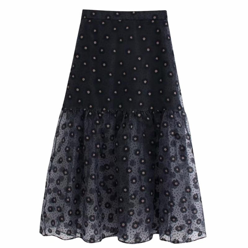 Women Vintage Flower Printing Transparent Organza Skirt Faldas Mujer Ladies Back Elasti Waist Vestidos Casual Slim Skirts QUN541