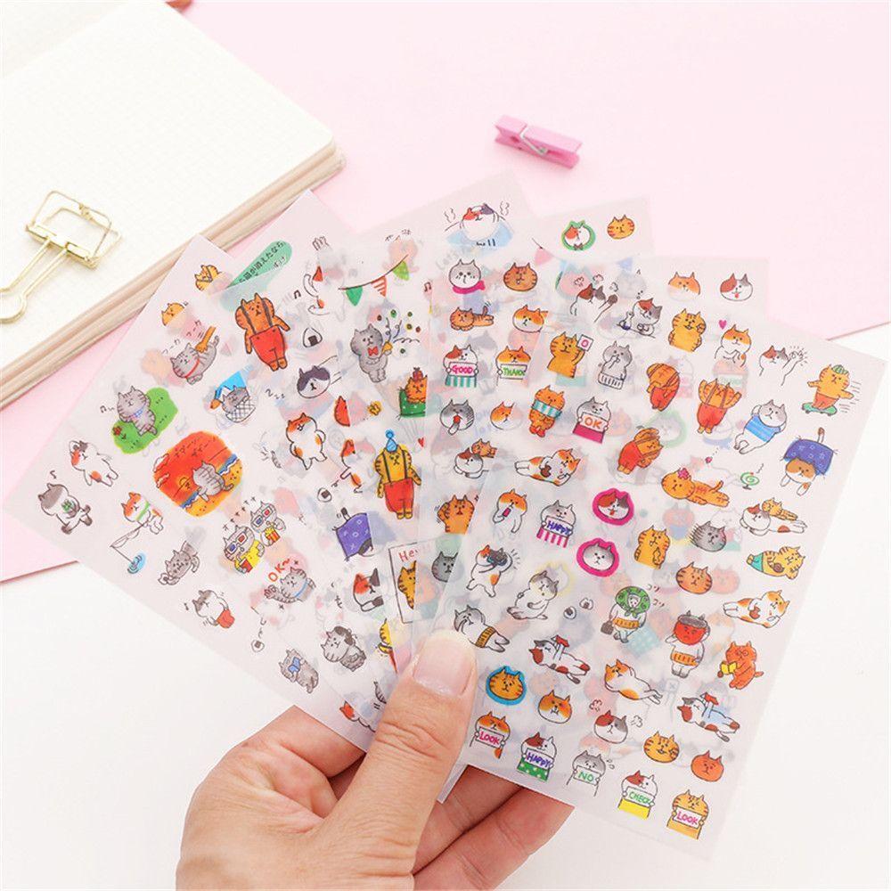 6 Sheets/pack Cartoon Cats PVC Stickers Kawaii Stationery DIY Scrapbooking Stickers