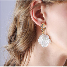 Hello Miss New petal pendant long earrings temperament holiday wind Stud earring womens jewelry gifts