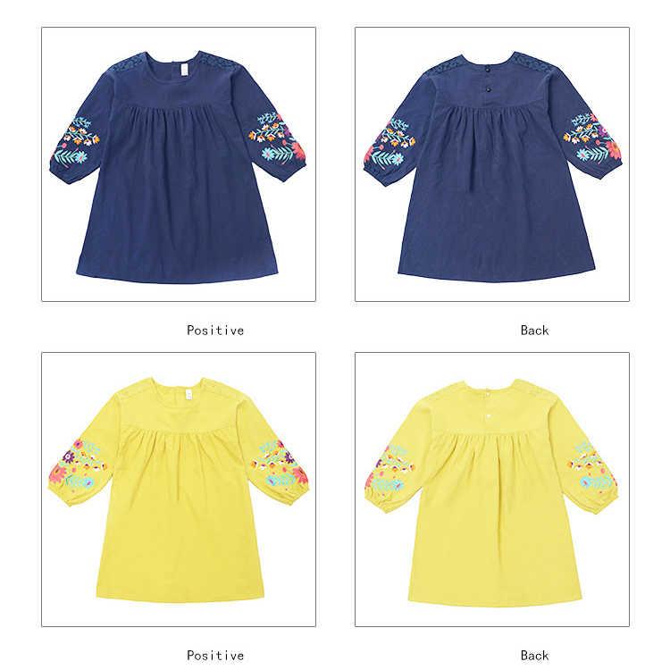 Kızlar sevimli işlemeli uzun kollu elbise 2019 sonbahar yeni büyük çocuk pamuk fener kollu bebek elbise çocuk giysileri