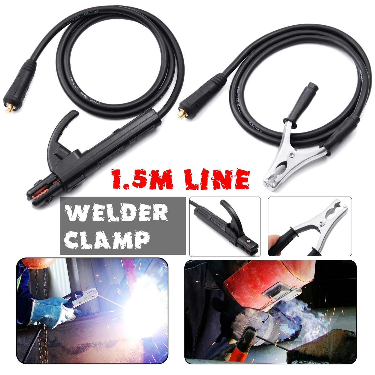 300A Groud Welding Earth Clamp Clip Set For MIG TIG ARC Welding Machine 1.5M Cable 10-25 Plug