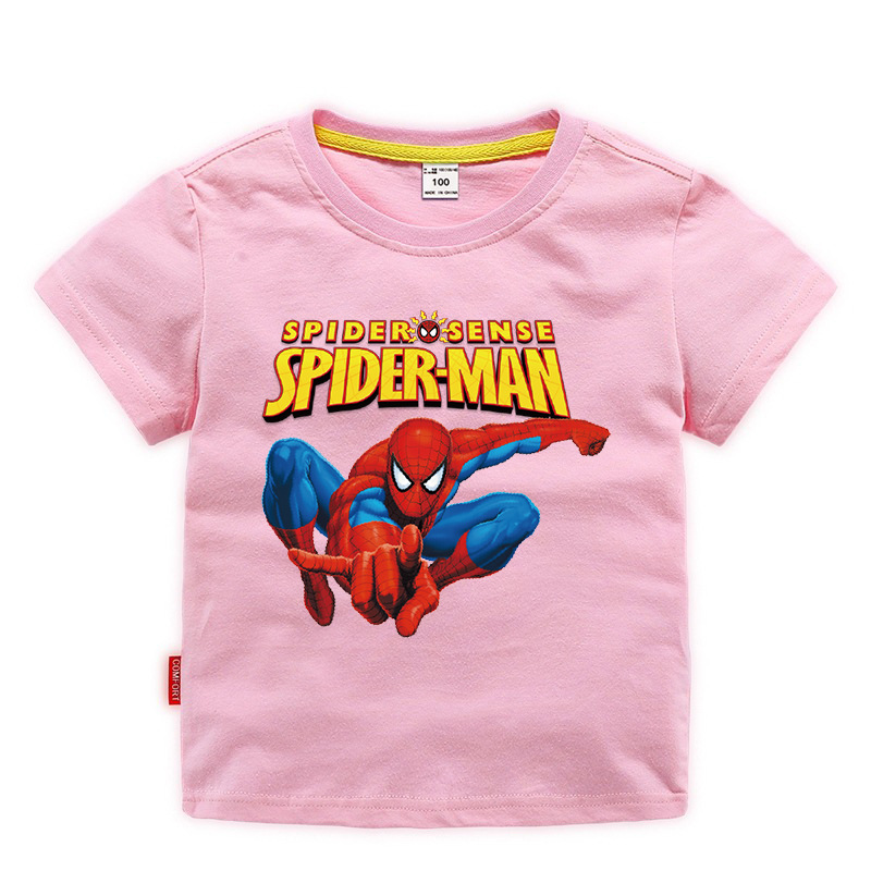 Disney Baby Spiderman T-shirt Childrens Boys Tops Girls custom Clothing T-shirt Kids Cartoon Short Sleeve Tee Clothes Summer New 3