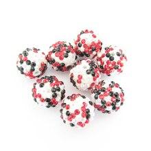 Neueste 20mm 100 pcs/lot Weiß AB/Schwarz/Rot Mixed Harz Strass Ball Perlen, chunky Perlen Für Kinder Schmuck Machen