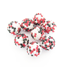 Newest 20mm 100pcs/lot White AB/Black/Red Mixed Resin Rhinestone Ball Beads,Chunky Beads For Kids  Jewelry Making