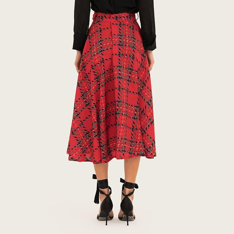 Vintage Plaid Skirt Womnes Red Pleated Midi Skirts with Sash High Waist Midi-calf Skirts Elegant Autumn Skirts