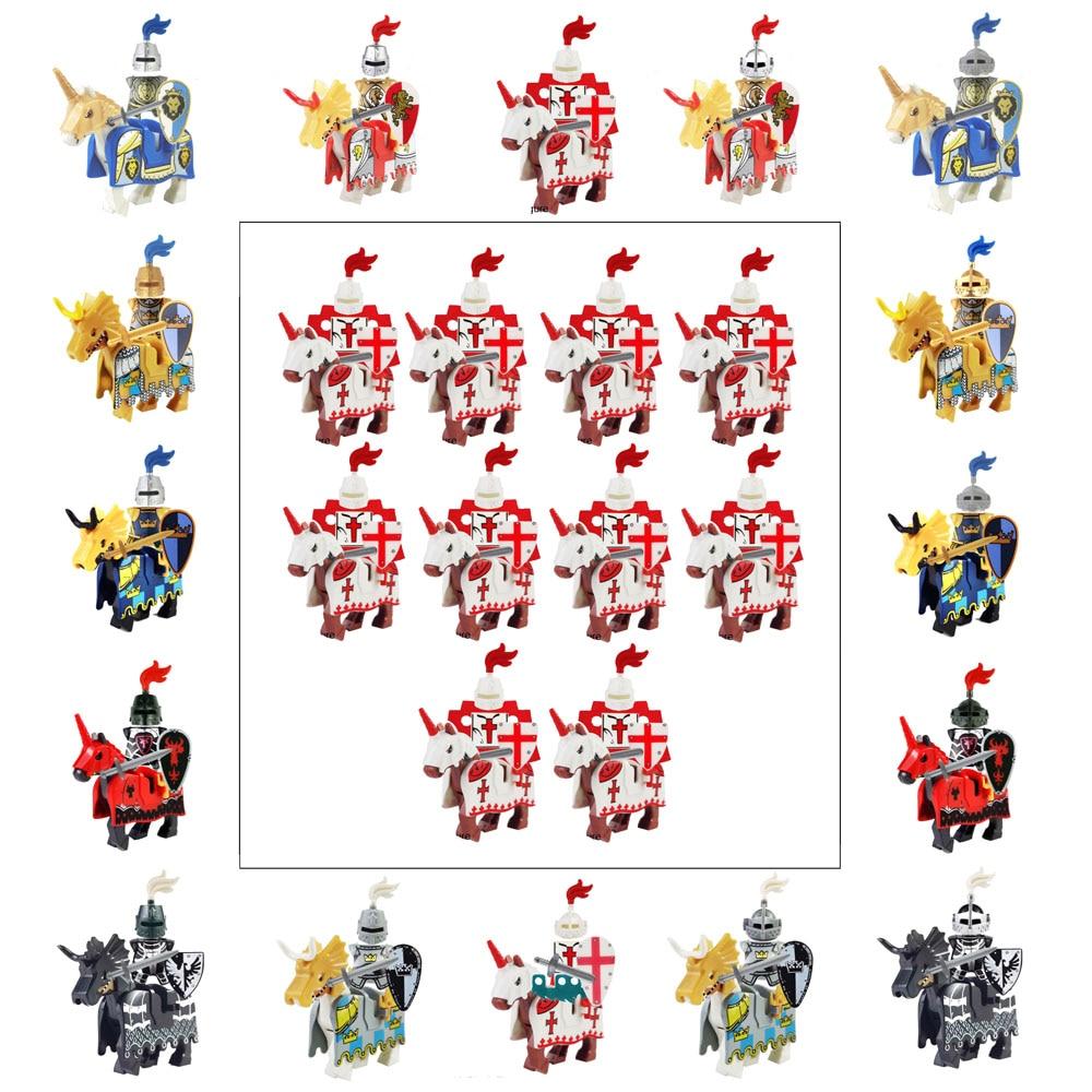 Dragoon Castle Medieval Age Royal Cavalryman King's Knight Blue Lion Knights W/ Battle Steed Rome Cavalry Warrior Building Block