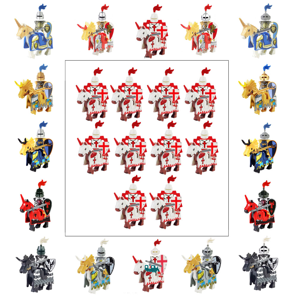 Dragoon <font><b>Castle</b></font> <font><b>Medieval</b></font> Age Royal Cavalryman King's Knight Blue Lion Knights w/ Battle Steed Rome Cavalry Warrior Building Block image