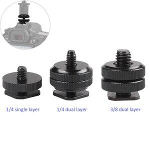 "Image 1 - อุปกรณ์เสริม1/4 /3/8"" Single Dual LayerแฟลชCold Mount Mountสำหรับกล้องDSLR CanonNikonSony Minolta yongnuo"