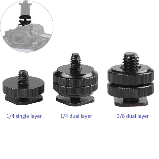 """อุปกรณ์เสริม1/4 /3/8"""" Single Dual LayerแฟลชCold Mount Mountสำหรับกล้องDSLR CanonNikonSony Minolta yongnuo"""