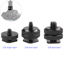Camera 1/4 Single Dual Layer Flash Hot Shoe Mount For Canon/Nikon/Sony DSLR Photo Studio Accessories 3/8 Adapter