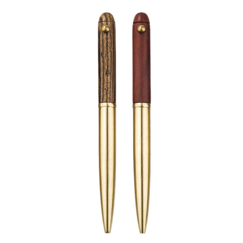 2 adet Vintage işareti kalem jel siyah mürekkep için saf bakır seyahat  ofis  iş ahşap Metal tükenmez kalem  kahverengimsi sarı ve kırmızı title=