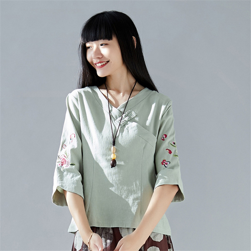 2020 New Spring Woman Traditional Chinese Top Elegant Embroidery Oblique Collar Cotton Linen Shirt Oriental Tang Suit For Female