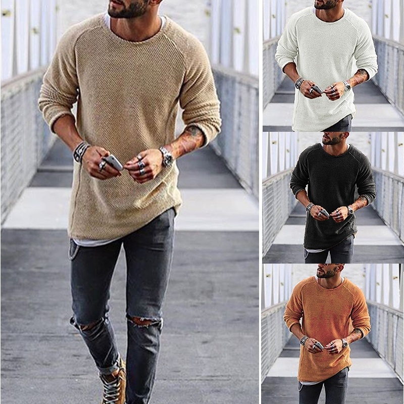 Men's Round Neck Sweaters Irregular Design Top Male Sweater Solid Color Mens Casual Sweater Pullover Sweaters For Mens