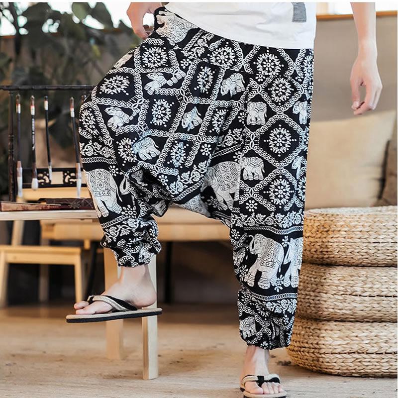 Baggy Cotton Linen Harem Pants Men Hip Hop Plus Size Wide Leg Trousers New Casual Vintage Print Long Pants Pantalon Hombre 2019