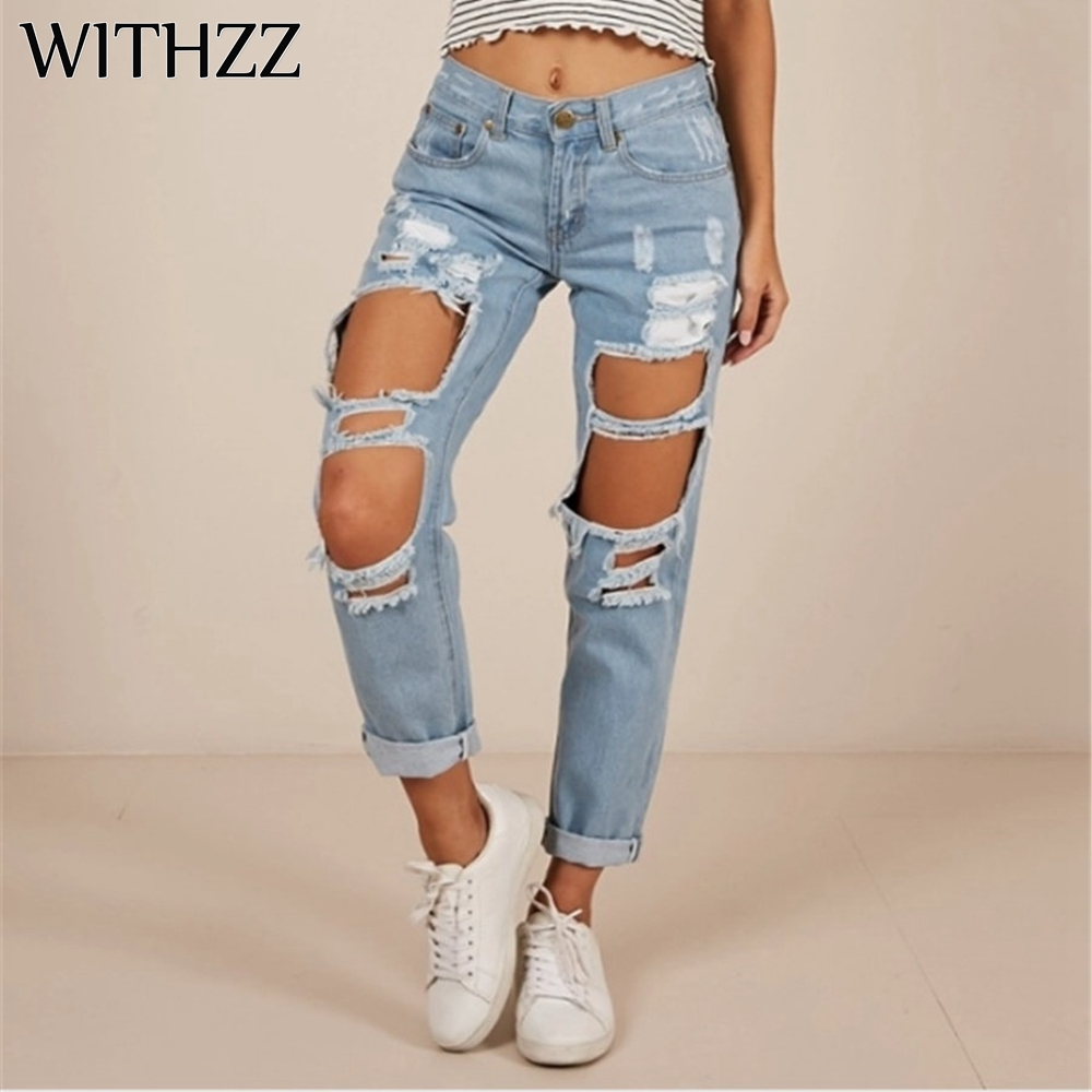 WITHZZ Women's Fashion Hole Ripped Denim Scratched Straight Pants Female Trousers Jeans