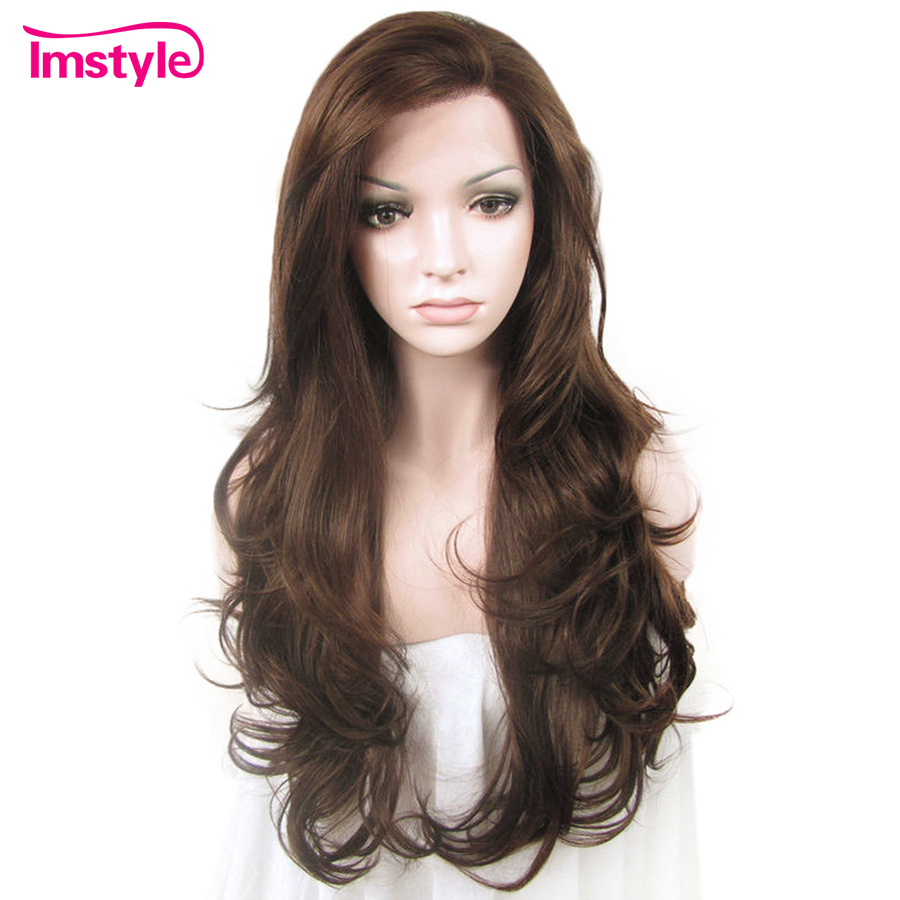 Imstyle Lace Front Wigs Natural Wavy Brown Wigs For Women Heat Resistant Fiber Synthetic Lace Wig Glueless Daily Wig 26 inch