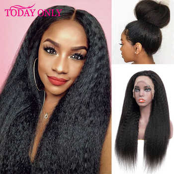 TODAY ONLY Peruvian Kinky Straight Wig 180 Density Lace Front Human Hair Wigs For Black Women 13x6 Lace Front Wig 8-26inch Remy - DISCOUNT ITEM  52% OFF All Category