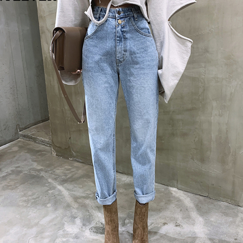 YAMDI Women Jean Pant Female 2020 Spring Autumn High Waist Loose Straight Jeans Button Zipper Woman Ladies Trosuer Denim Pants
