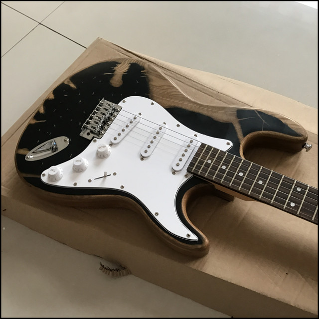 black relic handcrafted custom electric guitar , relic guitar , chrome hardware  2