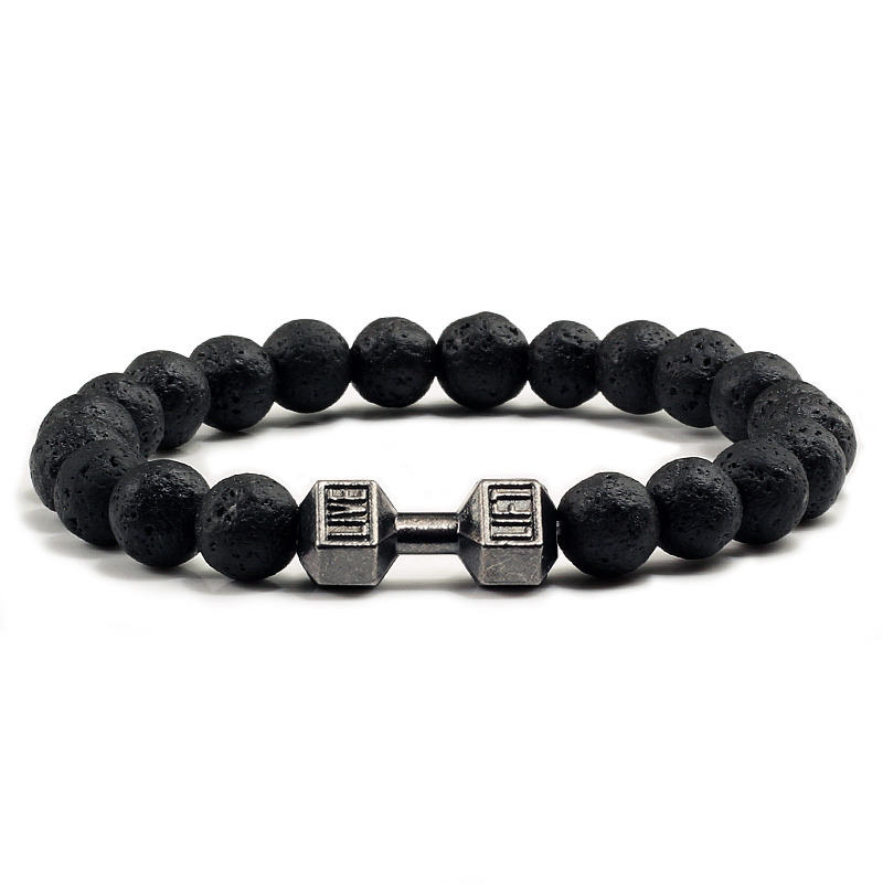 8MM Natural Lava Matte Black Stone Dumbbell Bracelet For Gym Women Men Barbell Fashion Couple Jewelry Beads Pulseras Accessories