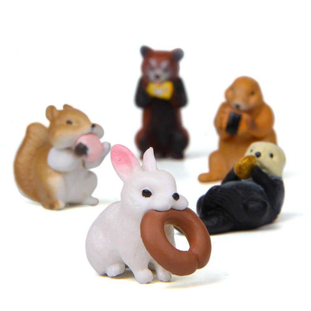 4Pcs Mini Eichhörnchen Tier Miniatur Figuren Garten Ornamente Harz Handwerk