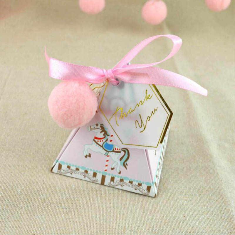 10 pçs caixa de doces carrossel carimbo quente triângulo caixa de doces caixa de doces de aniversário do bebê caixa de doces criativo caixa de presente natal suprimentos