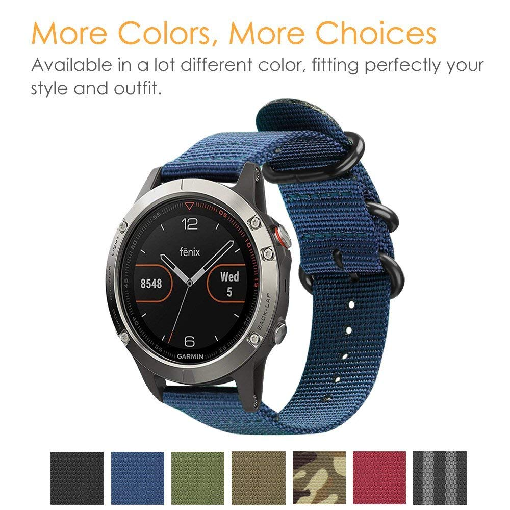 Nato Nylon Strap 20mm 22mm Watch Band For Garmin Fenix 5 5Plus 5S Ring Replacement Bracelet For Garmin Fenix5 Band With Tools
