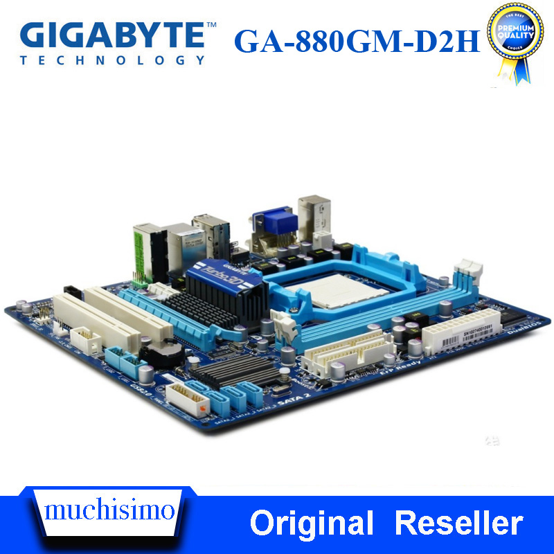 AM3+ GIGABYTE GA-880GM-D2H Desktop Motherboard 880G Socket AM3+ DDR3 8G For Phenom II/Athlon II UATX Original Mainboard Used