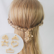 Gold Geometric Hair Claw Crab For Women Girls Metal Clamps Hair Clip Gold Small Hair Clip Claw Accessories Hairpins Ornament claw hair clip 6pcs