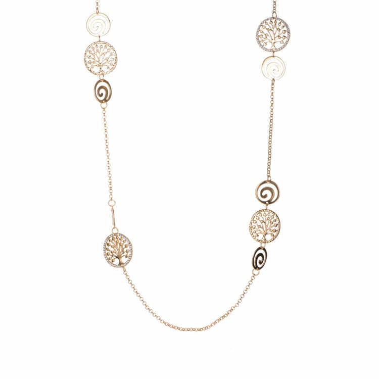 Vintage ยาว tree of life สร้อยคอทองฤดูร้อน Beach สร้อยคอสำหรับหญิงสาววันเกิดของขวัญเครื่องประดับ Collier Femme