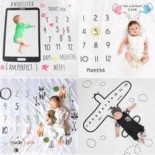 Bebê recém-nascido crescimento mensal marco cobertor fotografia adereços pano de fundo comemorar tapete 100x100cm