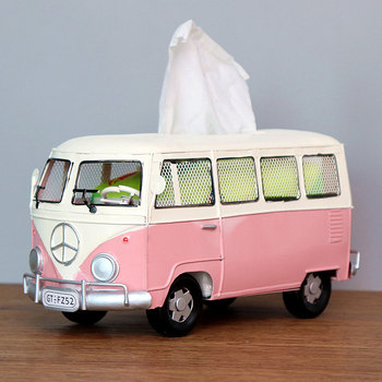 Flower Retro Iron Bus Tissue Box Model Figurines Car Craft Home Decoration Accessories for Living Room Ornaments for Home Decor 7