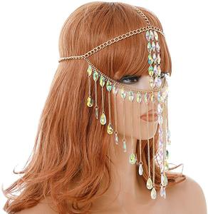 Image 2 - Mask Ball for Women   Gold Metal Rhinestone Grystal Face Chain Mask Jewelry for Women