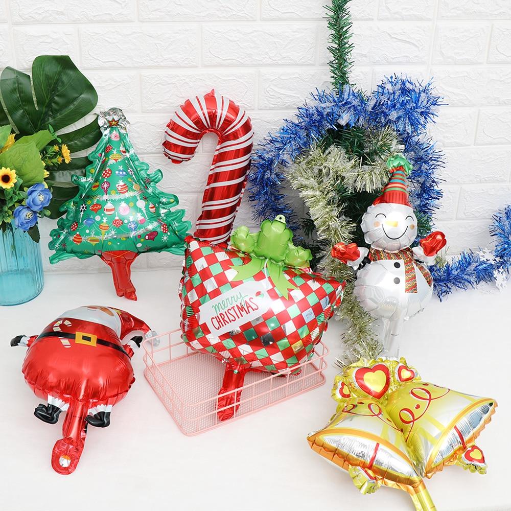 1pc Mini Size Christmas Day Foil Air Balloons Snowman Santa Claus Tree Decor