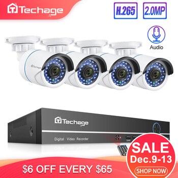Techage H.265 8CH 1080P POE NVR Kit système de vidéosurveillance 2MP Audio caméra IP IR extérieur P2P Onvif vidéo sécurité ensemble de Surveillance 1 to HDD