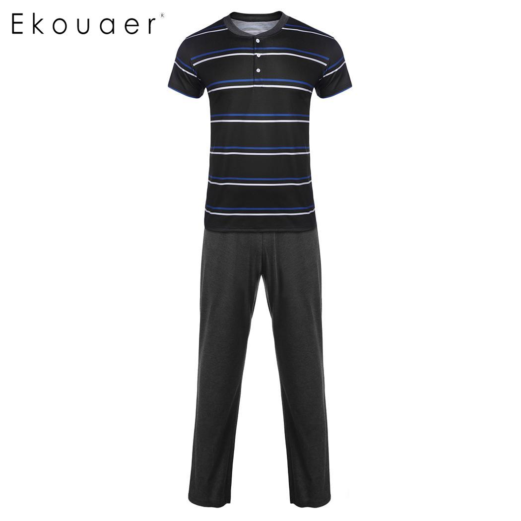 Ekouaer Men's Pyjama Sets Striped V Neck Home Lounge Sleepwear Short Sleeve Long Pants Pajama Summer Spring Homewear