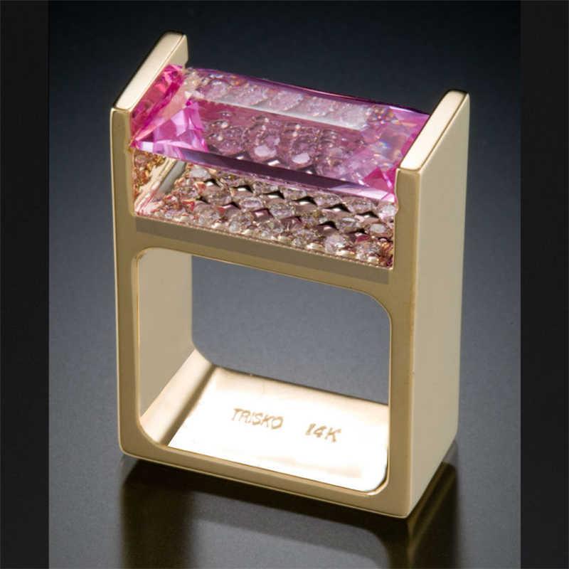 여성을위한 14K 골드 웨딩 다이아몬드 반지 남성 Anillos Bizuteria 약혼 토파즈 보석 14K 골드 다이아몬드 반지 보석 Bizuteria