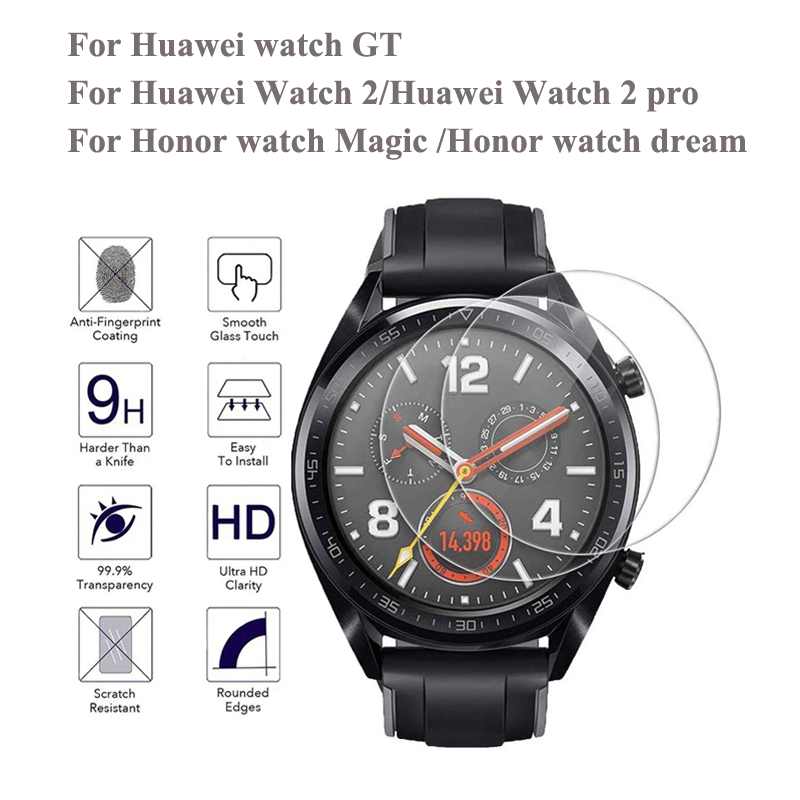 2pcs 9H Tempered Glass For Huawei Watch GT /Watch 2 Pro Honor Watch Magic /dream HD Anti-Scratch Anti-Fingerprints Tempered Film