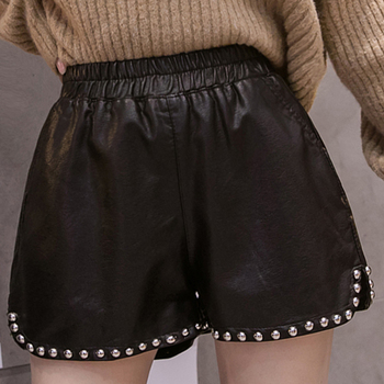 shintimes Black Elastic Waist High PU Leather Shorts Beads Sexy For Women Autumn Winter Womens Clothing