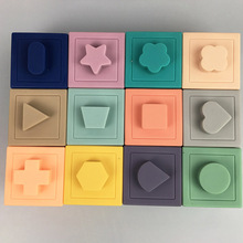 12pcs Set Soft Rubber Blocks Baby Grab Toys Baby 3D Touch Rubber Building Blocks Kids Hand Balls Educational Teether Squeeze Toy
