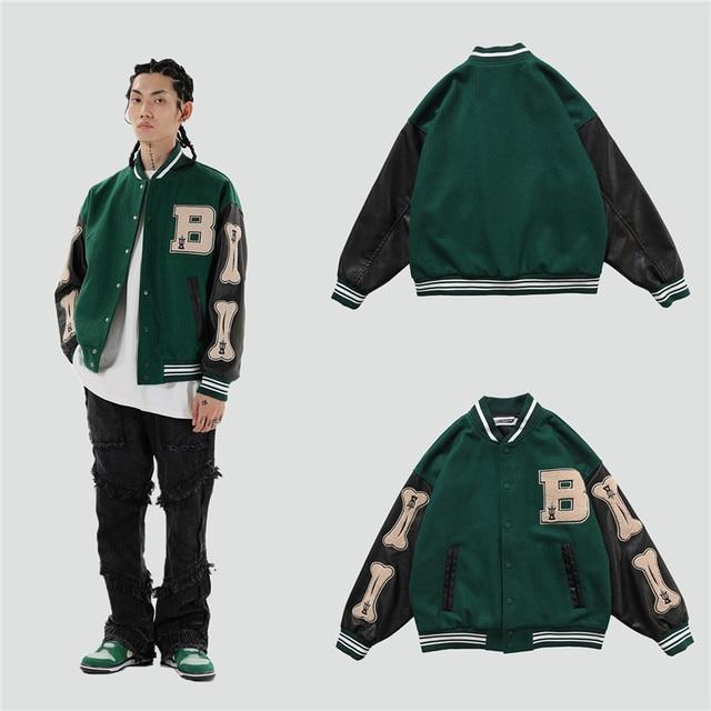 2020 hip hop streetwear baseball jacket coat letter B bone embroidery Stand-up collar japanese streetwear bomber college jacket 4