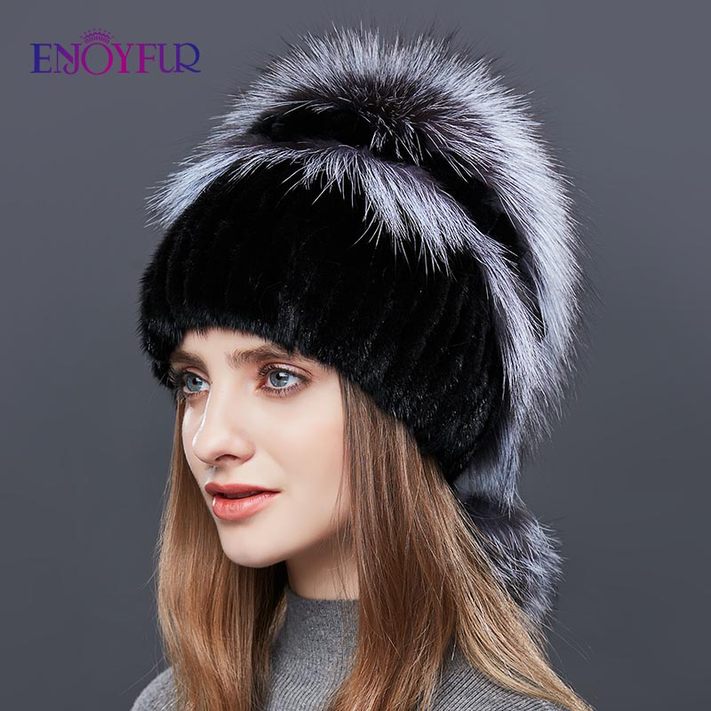 ENJOYFUR Double Warm Real Natural Mink Fur Hat Female Mix Color Sliver Fox Fur Women Winter Hats Double Pompom Luxury Beanies