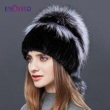 ENJOYFUR podwójne ciepłe prawdziwe naturalne futro z norek kapelusz kobiet Mix kolorów sliver fox futro damskie czapki zimowe podwójne pompon luksusowe czapki