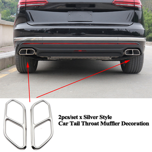 Image 4 - 2pcs/set Rear Car Exhaust Tail Throat Muffler Decoration Pipe Mouth Cover Accessories for VW Volkswagen Touareg 2019 2020 2021