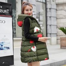 Осенняя и зимняя Двусторонняя одежда, хлопковый жилет, платье большого размера, пуховый хлопковый жилет, женский жилет с капюшоном, жилет средней длины