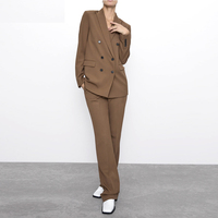 Brown Double Breasted Women Blazer Women Suit Women Office Suit Custom Made Ladies Suit костюм женский 2Piece Suit(Jacket+Pants)