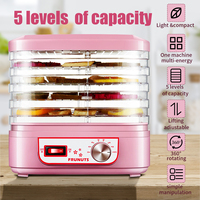 Food Dehydrator Machine 220V Fruit Vegetable Herb Meat Drying Machine Pet Snacks Food Dryer With 5 Trays Kitchen Appliances